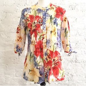 Tommy Bahama silk floral pintucked blouse